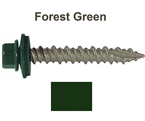 "250 Sheet Metal ROOFING SCREWS: #10 IVY GREEN/FOREST GREEN 1-1/2"" Hex Washer Head Metal Roof Screw. Self starting/self tapping metal to wood, sheet metal roofing, siding screws with EPDM washer seal. Roof screw w/painted heads. For corrugated roofing"