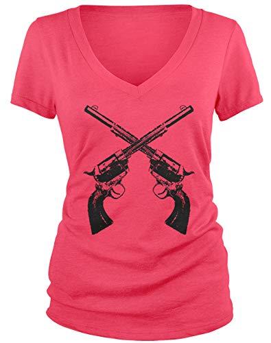 Amdesco Junior's Crossed Guns Revolvers V-Neck T-Shirt, Azalea Large