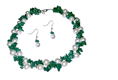 Double Strand White Simulated Pearl, Malachite Necklace Set, 17 inches