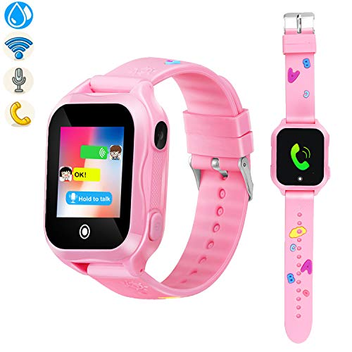 Kids Phone Smart Watch, GPS Tracker Smart Watches for Children Girls Boys 1.44inch Touch Screen Camera Waterproof SOS Smart Cell Phone Watch(Pink)