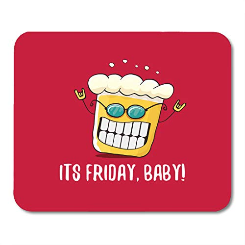 (Emvency Mouse Pads Quote Its Friday Baby Funky Beer Character Red Happy Funny Alcohol Fest Mousepad 9.5