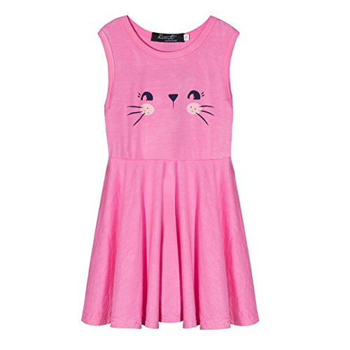 PHOEBE CAT Girl' Cotton Casual Cat Skater Party Twirly Summer Sleeveless Dress (Pink, - Girls Pink Dress Jersey