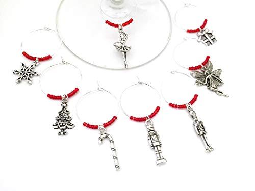 Nutcracker Ballet Wine Charms, Christmas Gift, Nut cracker Ballet Gift. Toy Soldier, Sugar Plum Fair, Ballerina. Set of 8. RED BEADS.