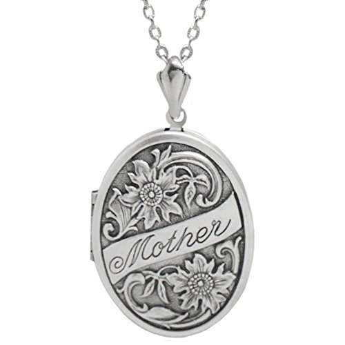 Girlprops Victorian Style Floral Embossed Opening Locket Mother Locket. USA! Nickel Free!, Burnished Silver in Silver Tone with Antique - Silver Style Locket Victorian