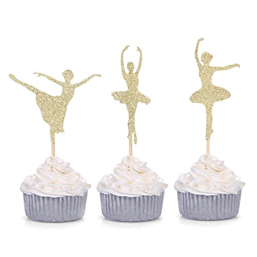 Giuffi 24 CT Gold Glitter Ballerina Cupcake Toppers Ballet Girl Baby Shower Birthday Party Decors]()