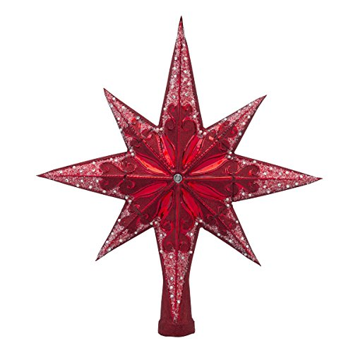 Christopher Radko Ruby Stellar Star Finial Christmas Tree Topper (Radko Glass Tree Topper)