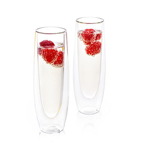 Eparé 6 oz Strong Double Wall Insulated Borosilicate Thermo Champagne Glass Flute (Set of 2)