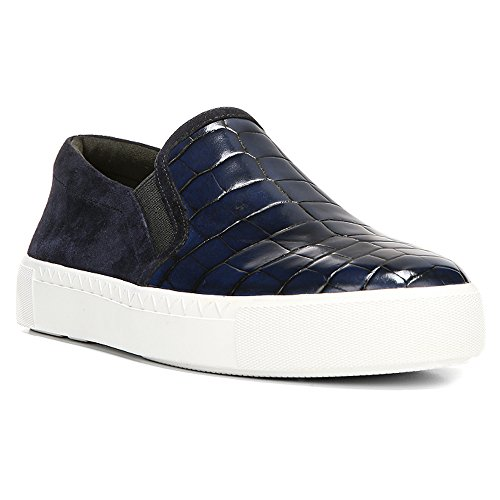 Via Spiga Dames Maliah Fashion Sneaker Navy / Twilight Tobarra Croc Print / Kid Suede