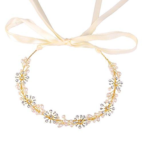 BriLove Women's Bohemian Boho Ivory Color Simulated Pearl Snowflake Flower Bendable Headband Crystal Hair Vine Accessory Gold-Tone