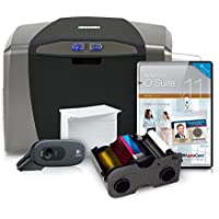 Fargo 1250e ID Card Printer System comes complete with ribbon, cards, cleaning kit, camera, and Alphacard ID Suite badge making software (PC)