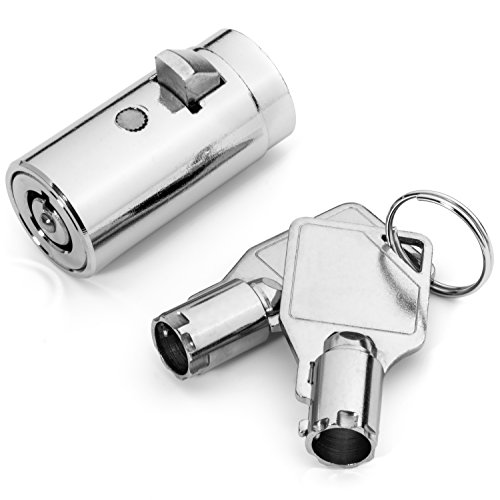 High Security Vending Machine Lock with Tubular Keyway and Chrome Finish, Keyed ()