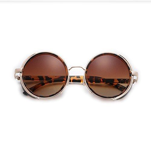 Gafas Sol Color Mujer De Sol Cuero Negro Leopard De TLMY Grain De de Gafas Hombre Y Vintage O7x4vwq