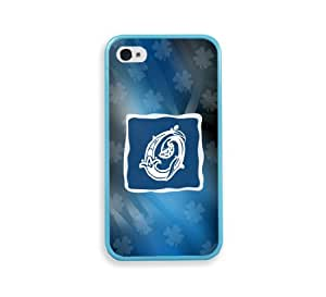 Blue Monogram O Aqua Bumper iPhone 4 Case Fits iPhone 4 & iPhone 4S