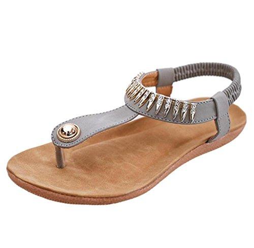 Amcool Frauen Flache Schuhe Böhmen Freizeit Sandalen Clip Toe Outdoor Schuhe 37