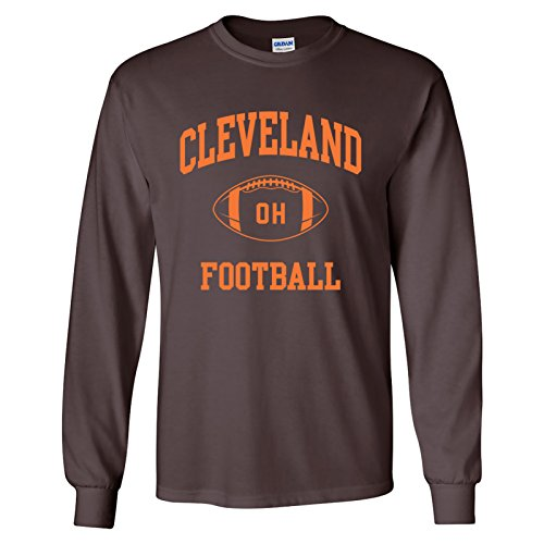 Cleveland Classic Football Arch American Football Team Long Sleeve T Shirt - X-Large - Brown