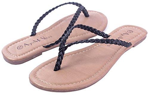 PU FemmeTire Non Cuir Shoes Couleur Noir Talon AgeeMi Sandales Unie 5EwqOBwx
