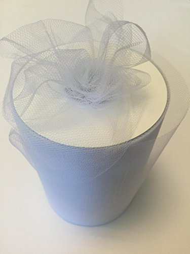 Tulle Fabric Spool/Roll 6 inch x 100 yards (300 feet), 34 Colors Available, On Sale Now! (white)