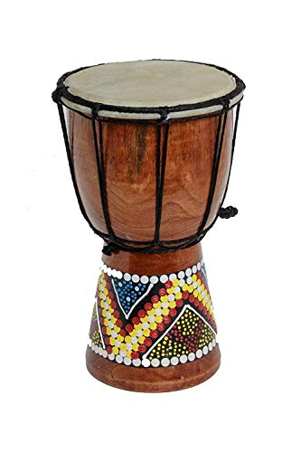 - World Playground 30cm Djembe Drum with Hand Painted Design - West African Bongo Drum