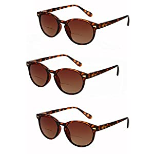"""3 Pair of """"The Brilliance"""" Unisex Bifocal Reading Sunglasses - Soft Pouches Included (Tortoise, 2.5)"""