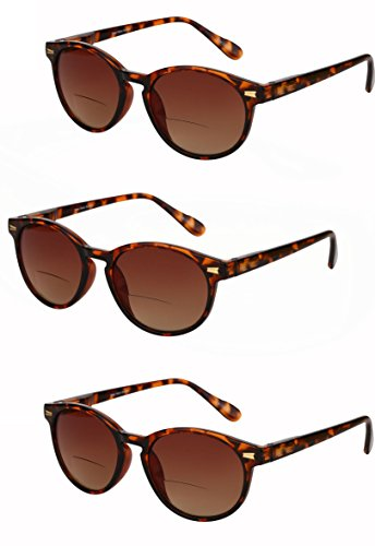 "3 Pair of ""The Brilliance"" Unisex Bifocal Reading Sunglasses - Soft Pouches Included (Tortoise, 2.5)"