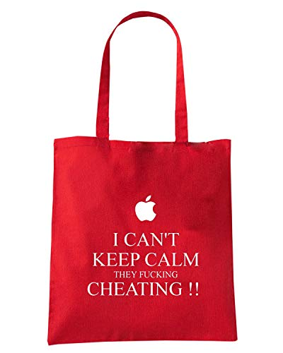 Speed Shirt Borsa Shopper Rossa TKC3872 I CAN'T KEEP CALM THEY FUCKING CHEATING