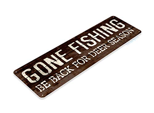 Tinworld Tin Sign Gone Fishing Rustic Deer Fish Boat Hunting Fishing Metal Sign Decor Marina Cabin B721