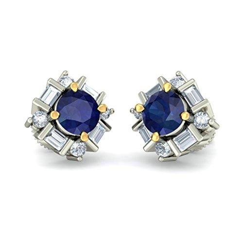 18K Or Blanc 0,32CT TW Round-cut-diamond (IJ | SI) et bleu saphir Boucles d'oreille à tige