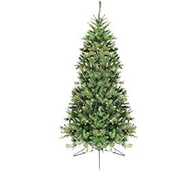 Northlight 6.5' Pre-Lit Canyon Pine Artificial Half Wall Christmas Tree - Clear Lights