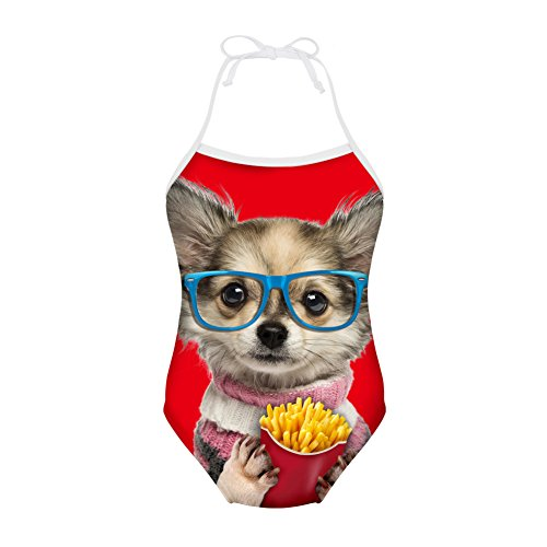 Sannovo Funny Chihuahua Printing Animal Style Swimsuit For Girls Kid One Piece 5T-6T