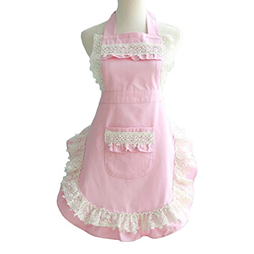 [Marshel Women Apron Japanese Kawaii Maid Costume Pink] (Chun Li Wig)