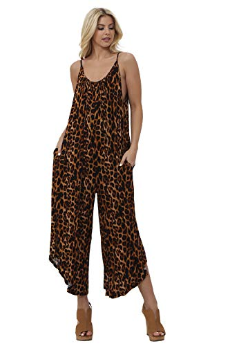 (Preppy Doll Made in USA Women's Sexy Solid and Animal Print Sleeveless Wide Leg Round Neck One Piece Jumpsuit Set (Small, Brown Multi)
