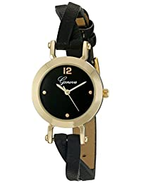 Geneva Women's GV/1010BKBK Gold-Tone and Black Crossover Strap Watch