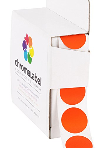 (ChromaLabel 3/4 inch Color-Code Dot Labels | 1,000/Dispenser Box (Fluorescent Red-Orange))