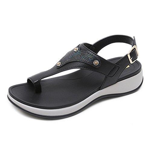 Moda de black Verano pellizco Ocasionales Antideslizantes Deportes de YMFIE de Zapatos Playa Sandalias Señoras Vacaciones la Playa wqCatnHA