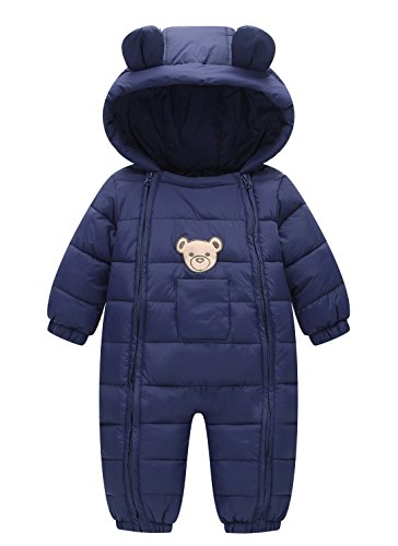 Happy Cherry Newborn Toddler Baby Clothes Girls Boys Romper Winter Jumpsuit Thicken Cotton Snowsuit One Piece Blue 9-18 Months