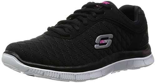 Skechers Noir Noir Basses Catcher blanc Femme Baskets Flex Appeal nbsp;eye rUqPr8