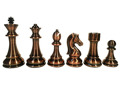 WE Games The Bobby Fischer Series Silver & Bronze Chess Pieces with Leather Bottoms - 4.25 inch King