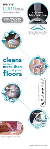 Sienna Luna Plus Steam Mop | Multi Purpose Handheld Steamer | Hardwood Floor | Tile Cleaner, 1500 Watts, 212 Degrees F, Purple