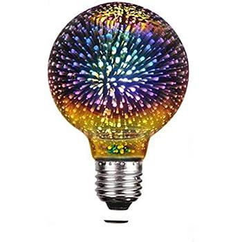 Century Light - G80 4W LED 3D Globe Fireworks Light Bulb,E26 Base Edison Bulb Light for Holiday Christmas Decoration Bar Glass LED Lamp