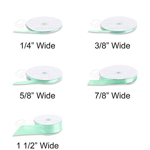 Sparkles Make It Special Satin Ribbon 100 Yard Roll 1/4 Inch Wide Party Decoration - 28 Colors - Solid Mint Green