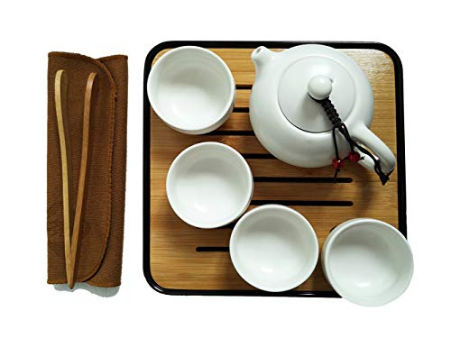 Portable Chinese Kongfu Tea Set, Handmade Ceramic Teapot and Teacups with a Travel Bag and Bamboo Tea Tray (1pot & 4 cups, White)