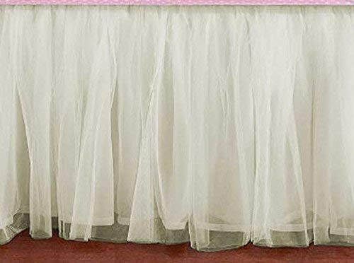 (Bedskirt Ruffle CREAM IVORY OFF-WHITE Tulle Bed Skirt Any Size - detachable option)