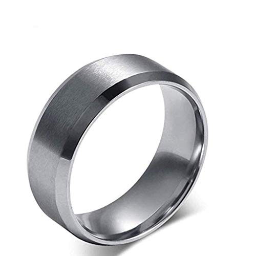 Windoson Simple Fashion Stainless Steel Smooth Hip Hop Ring Engagement Wedding Band Ring (10, Sliver)