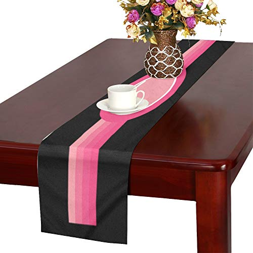 Pink Border Frame Decorative Pattern Table Runner, Kitchen Dining Table Runner 16 X 72 Inch for Dinner Parties, Events, Decor ()