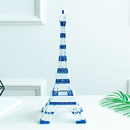 Ecom City French Eiffel Tower Metal Vintage Statue Figurine Replica Centerpiece Room Table Décor Jewelry Stand Holder French Souvenir (Blue & White)