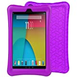 BMOUO Silicone Case for All-New A m a z o n F i r e 7 Tablet (7th Generation, 2017 Release) - [Upgraded Comb Version] [Kids Friendly] Light Weight [Anti Slip] Shock Proof Protective Cover, Purple
