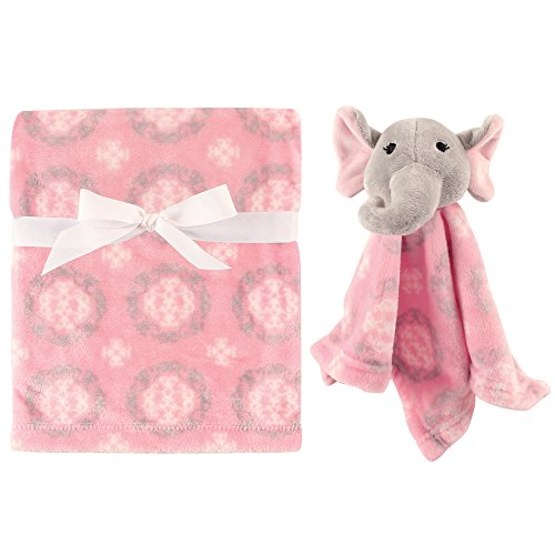- Hudson Baby Unisex Baby Plush Blanket with Security Blanket, Girly Elephant 2 Piece, One Size