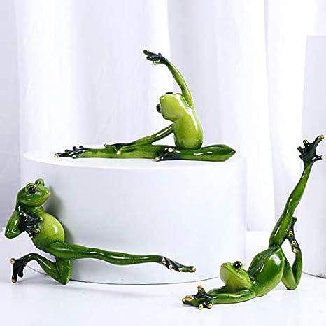 Zoomarlous 3D Yoga Fr/ösche Figur Gr/üne Yoga Frosch geformte Dekoration 3D Harz Statuen f/ür Schlafzimmer Wohnzimmer