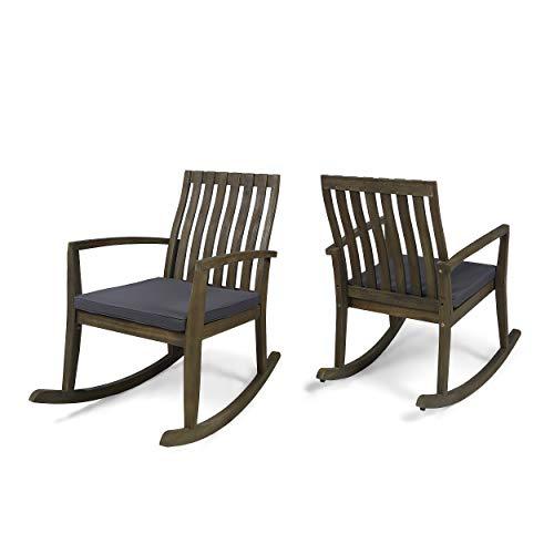 Colmena Outdoor Acacia Wood Rocking Chair with Cushions (Set of 2), Gray and Dark Gray