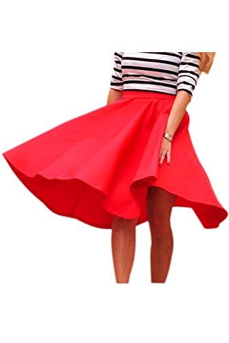 Patineur Nimpansa Occasionnels Les Jupes Femmes Red Midi Dcollet Solide Jupe HYxZYrUqw